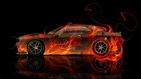 dodge challenger muscle side fire car  el tony