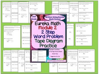 2nd grade module 2 eureka math 2 step word problems with tape diagrams practice