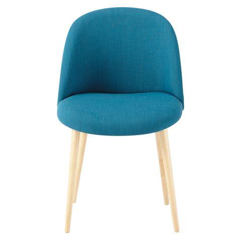 chaise en tissu chaise vintage en tissu et bouleau massif bleu pétrole