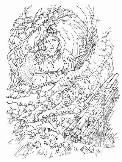 Hobbit Coloring Colouring Coloriage Hole Coloriages Adult