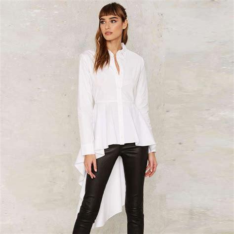 Long Sleeve White Fishtail Peplum Shirts Women Spring Chic