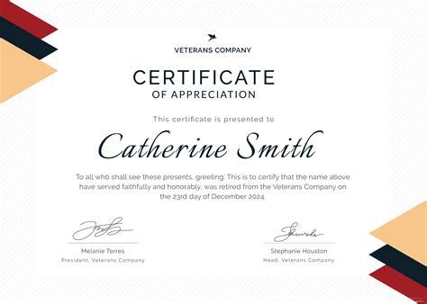 retirement certificate  appreciation template