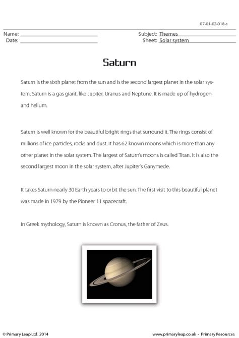 saturn planet worksheet saturn reading comprehension