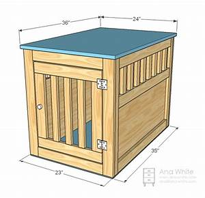 Ana white large wood pet kennel end table diy projects for How to build a dog crate end table