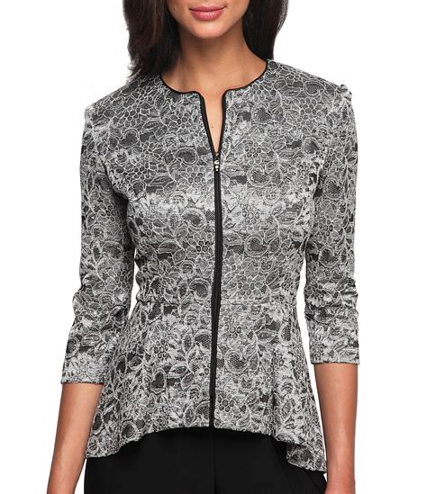 dressy blouses for wedding alex evenings printed lace zip front jacket dillards