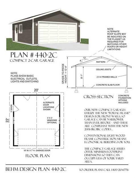 garage größe für 2 autos two car garage plan 440 2c 20 x 22 by behm design