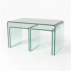 Clear glass nesting coffee tables ct040 in stock for Glass nesting coffee tables