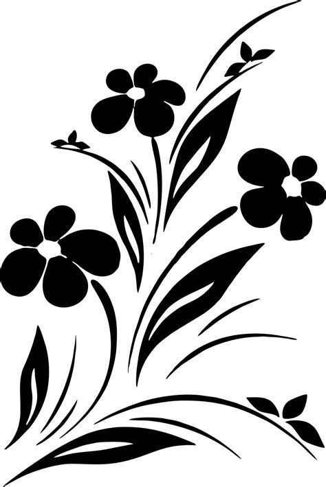 simple flower designs black  white vector art jpg