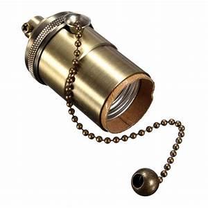E27  E26 Solid Brass Light Socket Holder Pull Chain Vintage