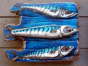 'three Mackerel' - Driftwood Art - CoastalHome co uk: Gone