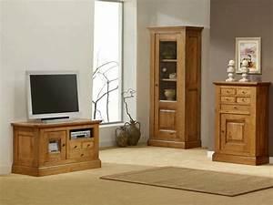 Meuble Tv Rustique : meuble tv bas en ch ne massif honorine 1 porte vitr e 3 tiroirs et 1 niche meubles bois massif ~ Teatrodelosmanantiales.com Idées de Décoration