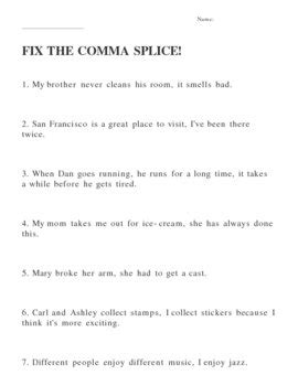 Comma Splice Practice Worksheet By Relentless Innovation Tpt