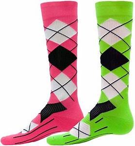 Neon Colored Argyle Athletic Sport pression Socks
