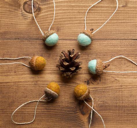 fall ornaments felt acorn christmas ornaments in mustard and mint grey fox felting