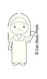 Nun Vector Illustration Coloring Easy Cartoon sketch template