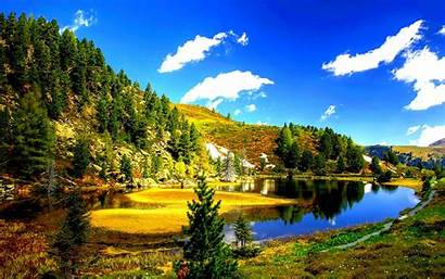 Pond Forest Wallpapers Lakes Clouds Nature Desktop