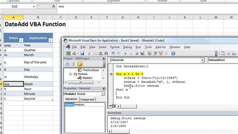 excel vba basics dateadd add subtract minutes months