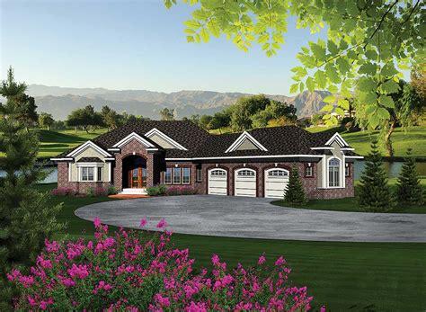 ranch home plan  walkout basement ah architectural designs house plans
