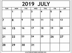 July 2019 Calendar Freeprintablecalendarcom