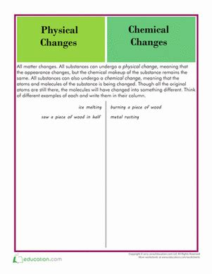 physical and chemical changes worksheet education