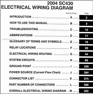 2004 Lexus Sc 430 Wiring Diagram Manual Original