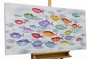 Bilder Mit Fischen : acryl gem lde 39 fische tiere bunt 39 handgemalt leinwand bilder 120x60cm ebay ~ Frokenaadalensverden.com Haus und Dekorationen
