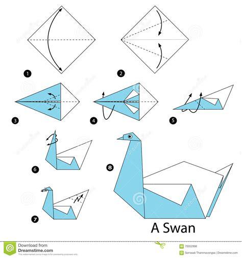 geleidelijke instructies hoe te om tot origami een zwaan