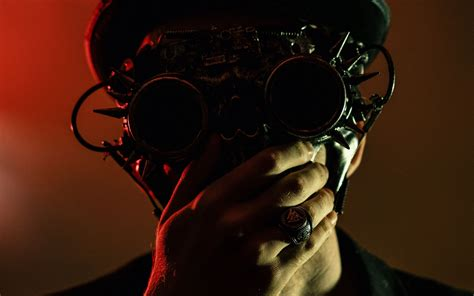 Download wallpaper 3840x2400 steampunk, glasses, hat, man ...
