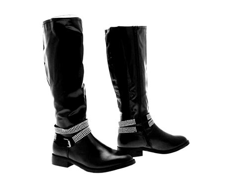 Knee Boots : Womens Studded Ankle Strap Biker Riding Boots Knee High