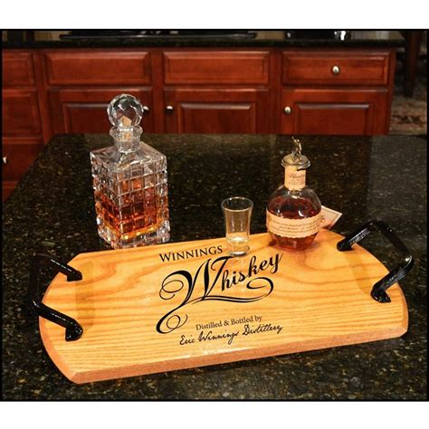 Bar Accessories Gifts by Reclaimed Oak Whiskey Barrel Custom Bistro Tray 124 50