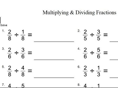 tes multiplying and dividing fractions gcse maths worksheet by theeducationspecialist