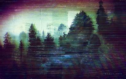 Glitch Vaporwave Wallpapers Sad Background Woods Desktop