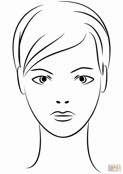 Face Coloring Woman Pages Female Young Clipart
