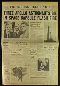 "Vintage 1967 Newspaper with Headline ""Three Apollo ..."