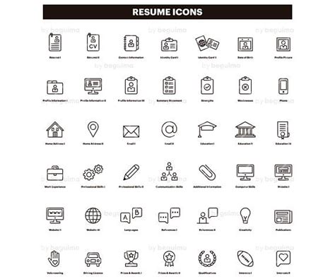 resume icons cv clip curriculum clipart set of