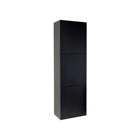black storage cabinet with doors fresca 17 3 4 in w x 59 in h x 12 in d 3 door bathroom