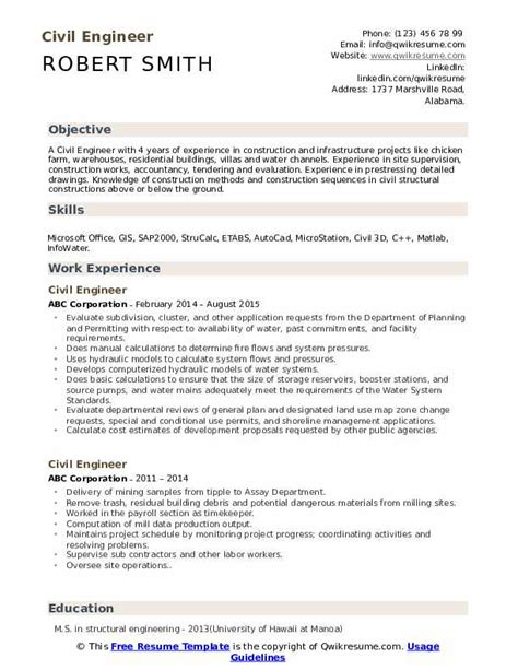 Use action verbs like assigned, collaborated. Civil Engineer Resume Samples | QwikResume