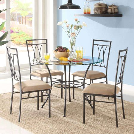 glass dining table set  metal chairs kitchen