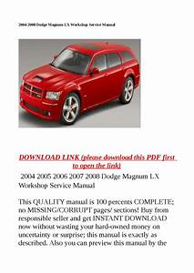 2004 2008 Dodge Magnum Lx Workshop Service Manual By