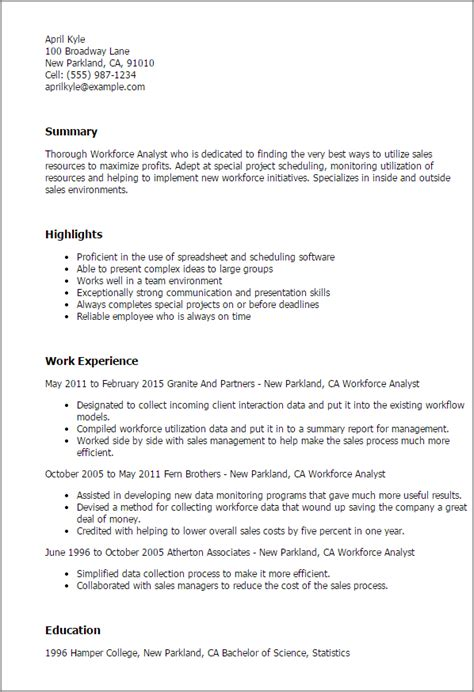 Workforce Management Analyst Resume by Professional Workforce Analyst Templates To Showcase Your Talent Myperfectresume