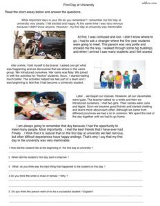 6 topical reading comprehension worksheets for esl classes