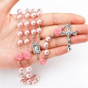 Ningxiang Fashion Rosary Round Beads Red Flower Catholic