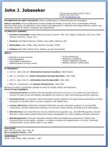 information security specialist resume sle resume