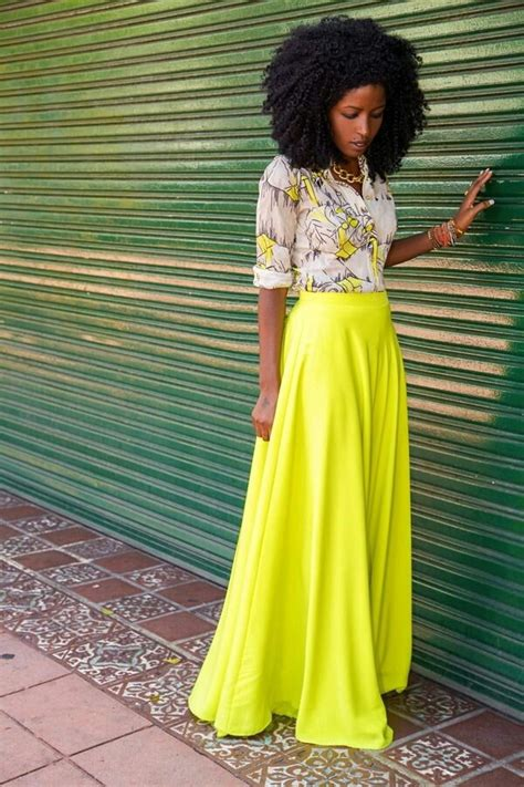 Skirt outfit fashion girly neon yellow button up blouse blouse print summer spring ...