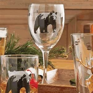 Black Bear Wine Glasses Set Of 4