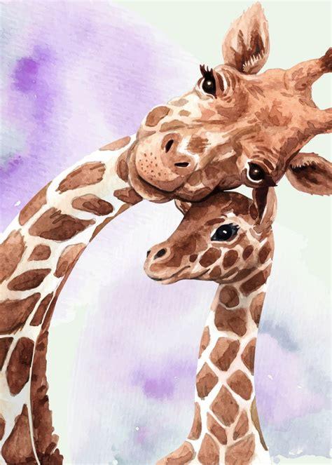 cute giraffe mom  baby metal poster print queensy