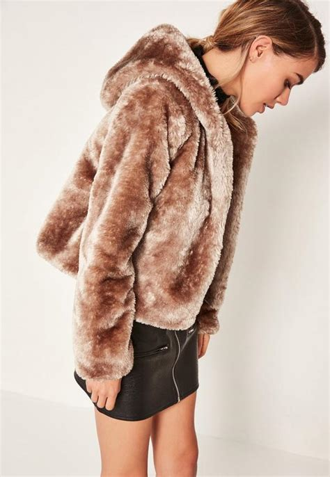 manteau 224 capuche marron en fausse fourrure missguided