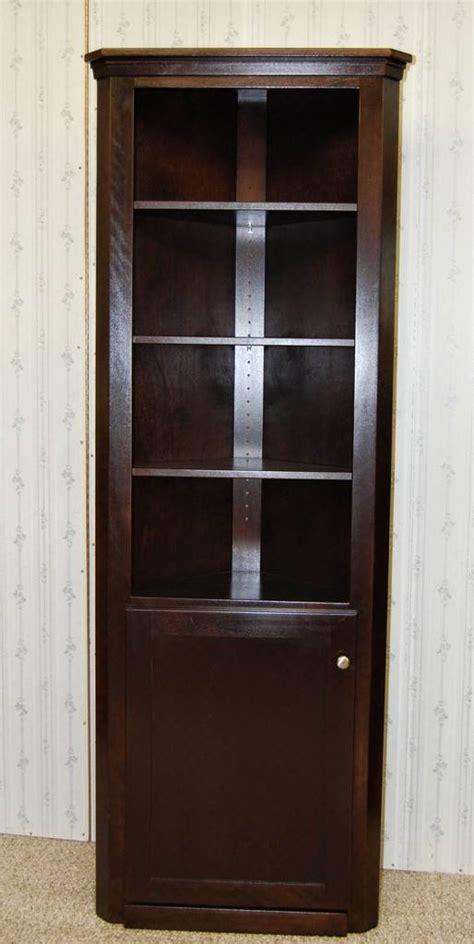 espresso curio cabinet corner curio cabinet in espresso de vries woodcrafters