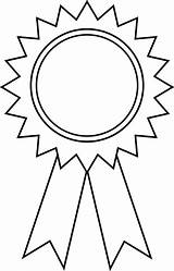 Ribbon Award Outline Clip Coloring Sweetclipart sketch template