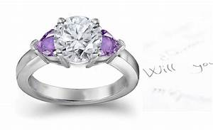 Purple sapphire hearts and diamond round engagement rings for Purple diamond wedding ring